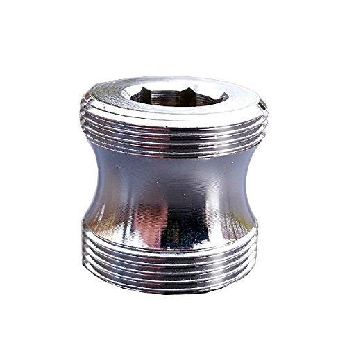 M21,5 AG x M22 AG lang, chrom, Gewinde Adapter M21,5 x 1 AG auf M22 x 1 AG lang Übergang CHROM f. Perlstrahler Gewinde am Wasserhahn, M22xM21,5, passend für ein M21,5 Luftsprudler Innengewinde, oft bei neueren Design Wasserhähnen, HANSANOVA Style