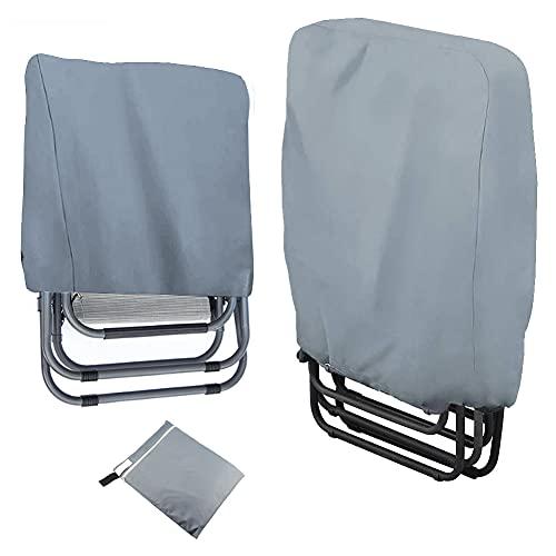 2 fundas protectoras para sillas de jardín plegables, resistentes al agua, al viento, a los rayos UV y a la carga pesada, tejido Oxford 210D con bolsa de almacenamiento, para tumbona de jardín