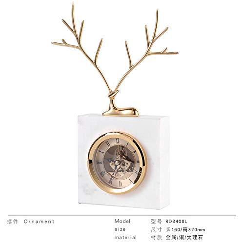 Powzz - Escultura decorativa de estilo europeo, reloj de mesa, salón, mesa retro, viento