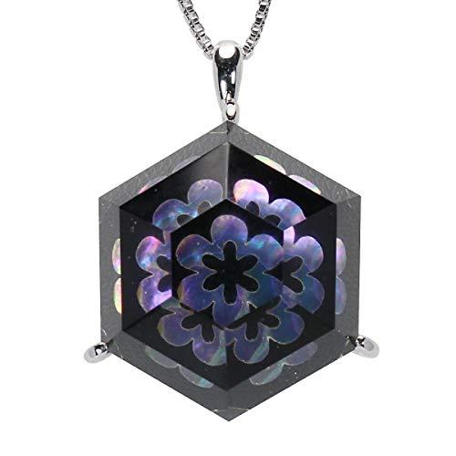 真珠の杜 水晶 ネックレス クォーツ SV925 シルバー925 銀 漆 花 黒色 銀色 虹色 ペンダント レディース 誕生石 4月 dpn658-647wps