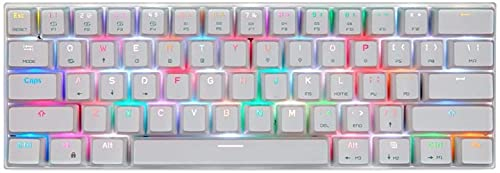 Teclado de juego 61 teclas Bluetooth USB cable de doble modo de teclado mecánico de juego de apoyo Bluetooth teclado mecánico del juego (color: blanco, tamaño: interruptor rojo)