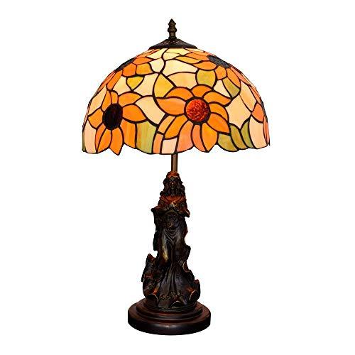 ZGQA-GQA 12' Lámpara de Mesa Pastoral Americana Girasol Belleza Ángel Sala Comedor Dormitorio Estilo Tiffany Cubierta de Noche Contador de la lámpara de Cristal de la lámpara de Tiffany Bar