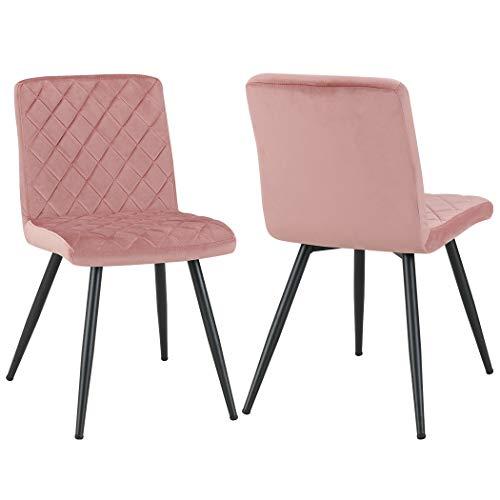 Sedia da sala da pranzo in tessuto (velluto) sedia imbottita design retro con piedini in metallo...