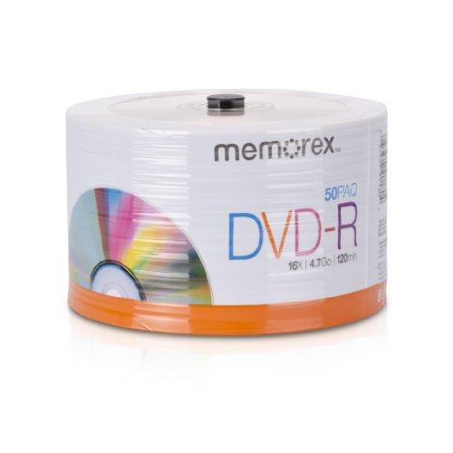 Memorex 32020031749 DVD-R 16x discos de base giratória ecológica, pacote com 50