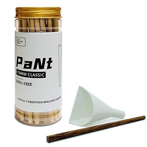 PaNt | 50 Pcs | 110 mm Conos pre enrollados de King Size | Papeles de liar Natural Cones con puntas y cargador de embudo y varilla para empujar