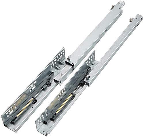 MTFZD - Corredor de cajón de acero laminado en frío, cierre suave, telescópico de tres secciones 25 cm-60 cm, con acolchado, 45 cm