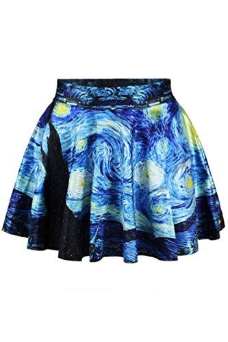 Herose Girls Wide Waistband Starry Sky Daily Wear Lounging Short Skirt Free Size