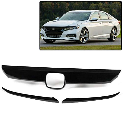 Front Bumper Lip Grille Cover Moulding Trim + 2Pcs Eyelid Cover Compatible with Honda Accord 10th Gen 2018-2019