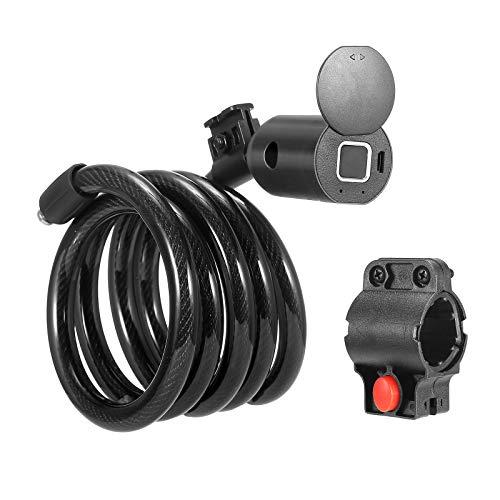 ETE ETMATE Candado de Bicicleta Inteligente USB con Huella Digital o Bluetooth, aplicación de teléfono Impermeable, Alarma Inteligente, Bloqueo antirrobo