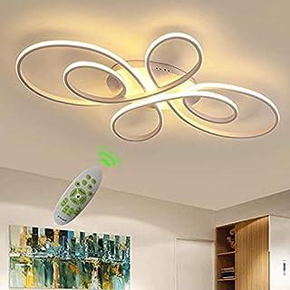 moderne Plafonnier LED télécommande Motif floral Intensité variable Lampe salon Design géométrique Éclairage pour éclairag...