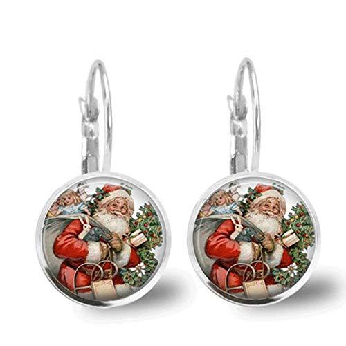 Art Glass Cabochon Santa Claus Earring for Women Fashion Ethnic Round Pendant Dangle Earrings Charm Christmas Gift