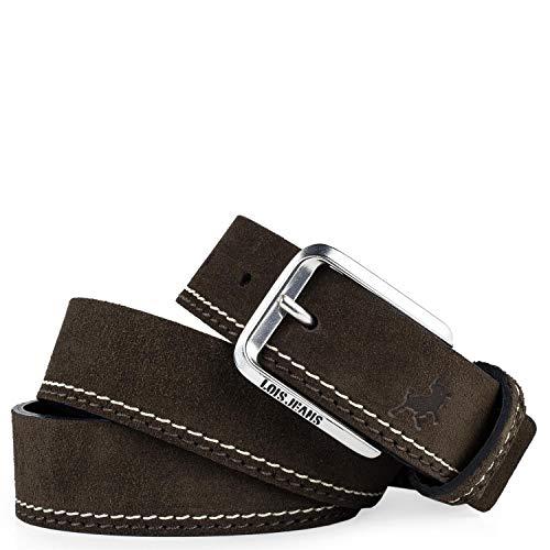 Lois - Cinturon Piel Serraje Ante Cuero Hombre Mujer. Hecho en ESPAÑA. Marca 35 mm Ancho. Talla Ajustable 501012, Color Marron