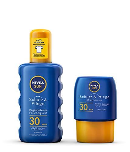 NIVEA Schutz & Pflege Sonnenspray + gratis Reisegröße Sonnenmilch (1 x 200 ml + 1 x 50ml), Sonnenspray mit LSF 30, wasserfeste Sonnenlotion