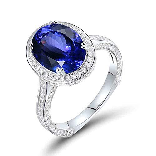 Beydodo Anillos Mujer Compromiso,Anillo Oro Blanco 18K Mujer Plata Azul Oval Tanzanita Azul 3.2ct Diamante 0.73ct Talla 6,75(Circuferencia 47MM)
