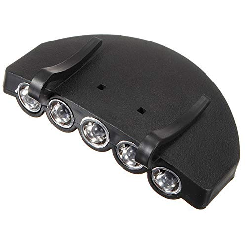 DierCosy Clip del Faro 5 LED Clip en el Casquillo de la luz para la Caza de Manos Libres al Aire Libre Linterna Sombrero Visera Luz