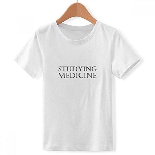 DIYthinker Frase Corta la Medicina Que Estudia con Cuello Redondo de la Camiseta para Chico XXX-Grande