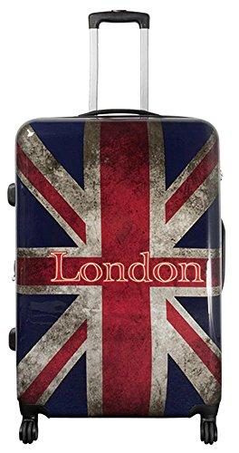 Valigetta da viaggio in policarbonato ABS, rigida, bagaglio a mano, nei modelli trolley o beauty case, XL L M S Multicolore UK London. xl