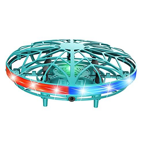 Hellery Giocattoli della Mosca Dell'elicottero Dell'elicottero di Induzione degli UFO dei Bambini con La Rotazione della Luce a LED a 360 ° - Blu