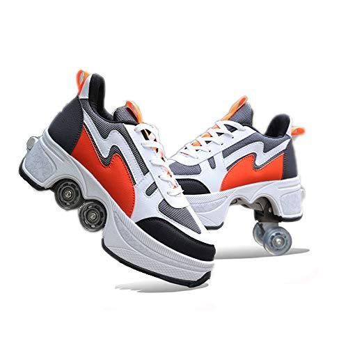 ZHANGJUN Zapatos De Skate para Mujeres, Patines En Línea Ajustables, Zapatos Multiusos 2 En 1, Zapatillas De Moda para Niños, Niñas Y Niños,Orange-41