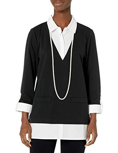 Karl Lagerfeld Paris Damen Twofer W PRL NECKLAC Hemd, schwarz, X-Klein