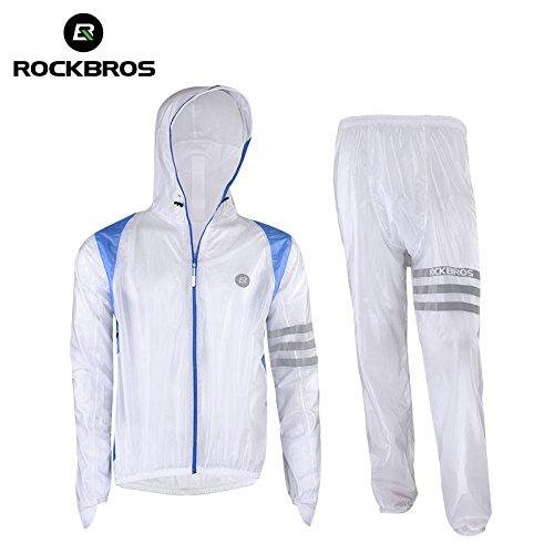 ROCKBROS Lluvia Chaqueta y Pantalón Set Resistente al Agua Chaqueta con Reflectantes...