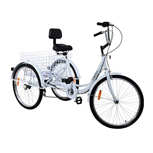 Ridgeyard 6 Speed 24 Inch 3 Wheel Adult Tricycle Bike Cycling Pedal Cruiser...