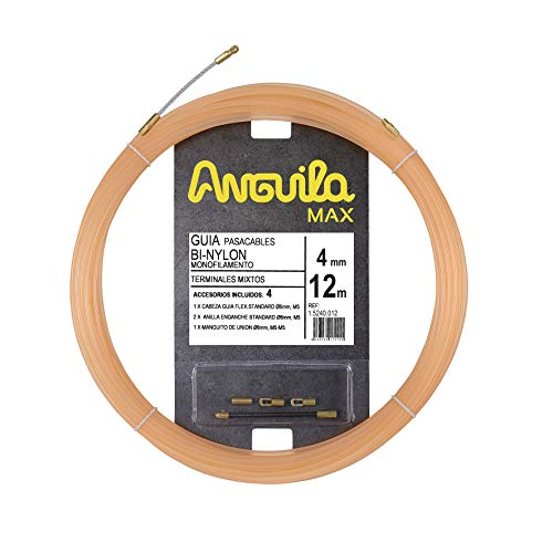 Anguila - Max Guía pasacables BI-Nylon Monofilamento, 12 m, 4mm, Terminales Mixtos, Salmón.