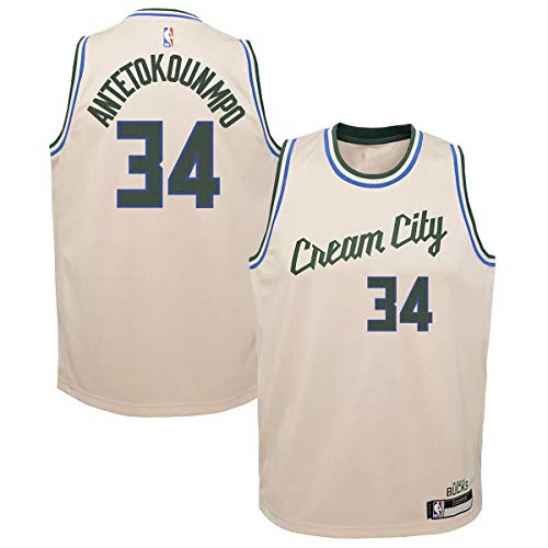 Outerstuff Giannis Antetokounmpo Milwaukee Bucks #34 Cream Youth 8-20 City Edition Swingman Jersey (Youth Medium 10/12)