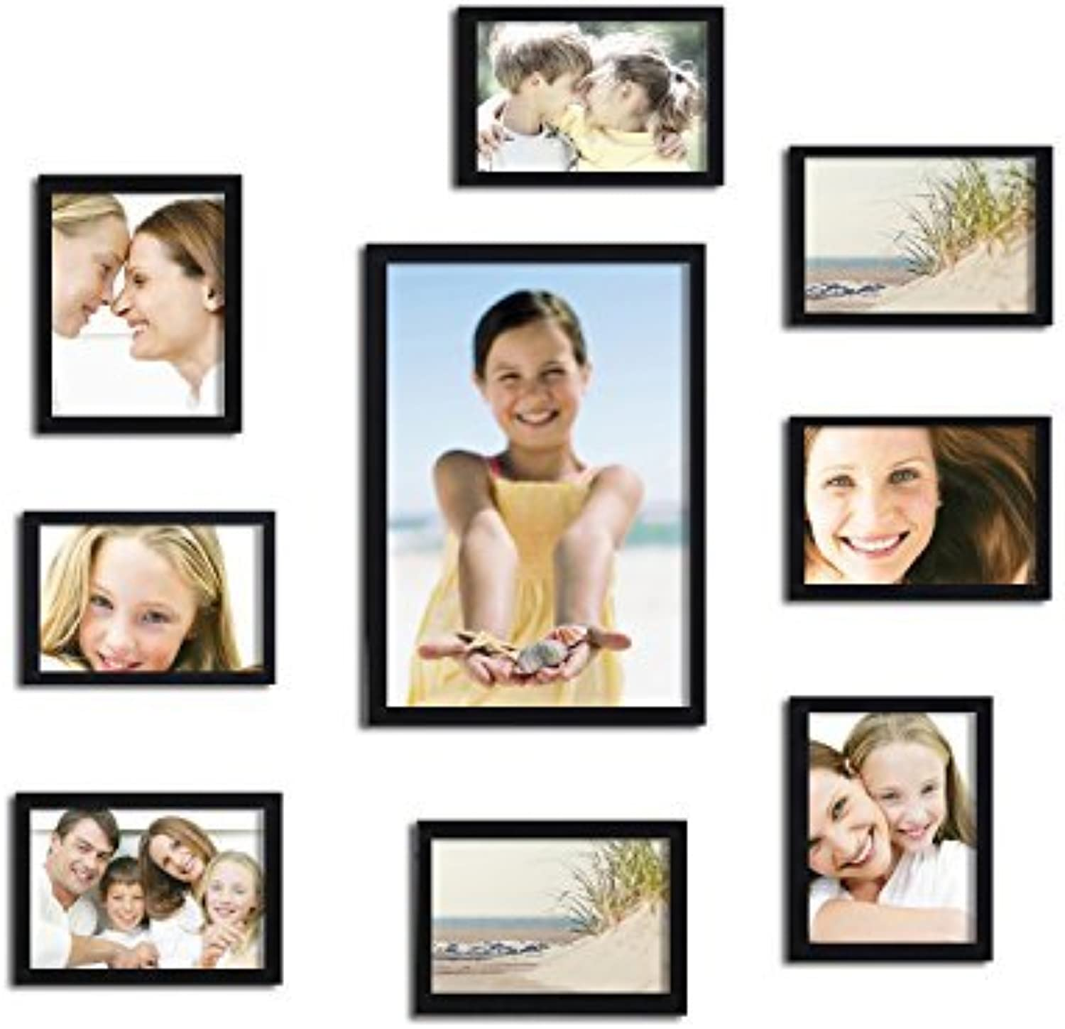 Adeco PF0053 Decorative Black Wood 10Piece Picture Photo Frame Set  8-4x6 , 1-6x8 , 1-8x12 , Wall Hanging or Table Top, Black