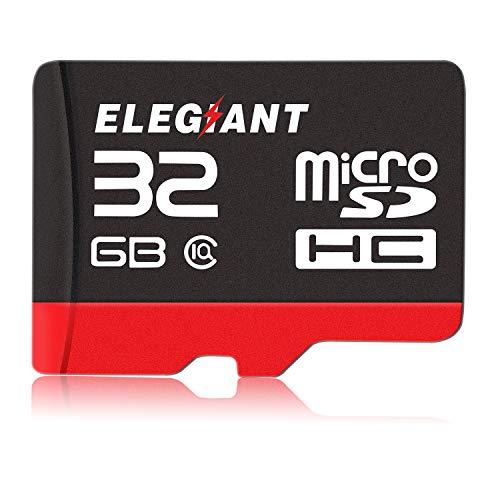ELEGIANT 32GB Tarjeta de Memoria Micro SD HC, Tarjeta Micro SD de Alta Velocidad 10 Velocidad de Lectura hasta 100MB / S, Transmisión Estable para Móvil/Coche DVR/Cámara/Webcam/GoPro/Drone
