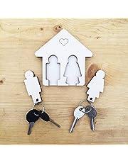 Laseró Sleutelring, sleutelhanger met wandhouder, houten sleutelhouder, voor thuis en op kantoor, het perfecte woonaccessoire paar, voor hem en haar