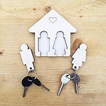 Laserò Organizador de Llaves con 2 Llaveros para Pareja | Cuadro de Madera para la Casa y la Oficina | Accesorios Guardallaves para Colgar en el Hogar | Regalo Ideal de San Valentín para Parejas