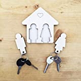 Laserò Keyring Keychain Key Holder for Wall | Wooden Storage Accessories for Home, Bedroom, Kitchen, Office Entryway | Decorative Organizer | Couples, His and Hers Gifts | 100 mm x 7 mm x 100 mm