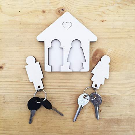 Laserò Schlüsselring | Schlüsselanhänger mit Wandhalterung | Schlüsselhalter aus Holz | Für Haus und Büro, das perfekte Wohnaccessoire Paare | Für Sie und Ihn
