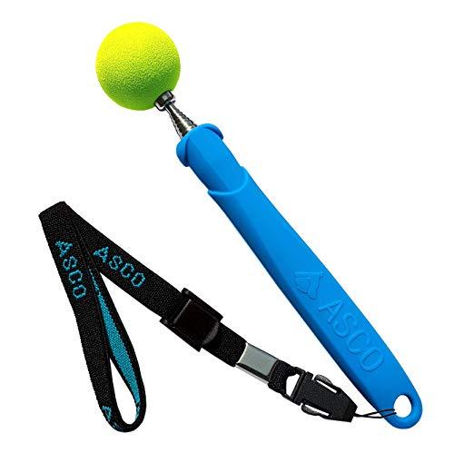 ASCO Target Stick mit Stretch-Armband für Hunde Katzen Pferde, Clicker-Training und Erziehung, Edelstahl Target, Teleskop-Funktion 17-73 cm, blau AC04TS