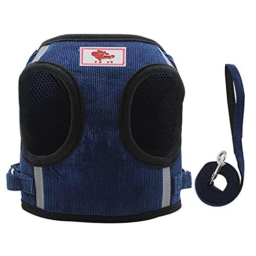 ZHANGXJ Arnés Perro Ajustable Lineas Reflecantes Arnés Perro Mediano Pequeño Cómodo Transpirable Arnés para Perros Pequeños Caminar Entrenamiento (Color : Blue M)