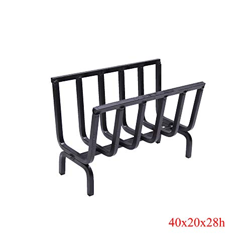 Brucialegna, porta legna, braciere in ferro per camino e barbecue (cm 40x20x28h)