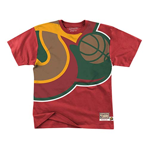 Mitchell & Ness NBA Big Face Seattle Supersonics - Camiseta, color rojo, Hombre, rojo, large