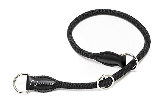 Happilax gevlochten hondenhalsband om te leggen met verstelbare stopper, touw-halsband voor honden in 3 maten, Medium, zwart