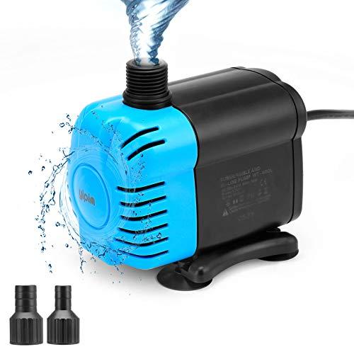 yipin Pompe Eau Submersible Pompe Aquarium Mini 5W 650L/H Ultra-Silencieux avec 4 Pieds de Ventouses pour Étang Fontaine Réservoir de Poissons 2 Buses, Bleu/ Noir