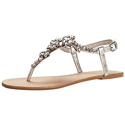 David's Bridal Jeweled T Strap Sandal Style Gemma, Silver Metallic, 9