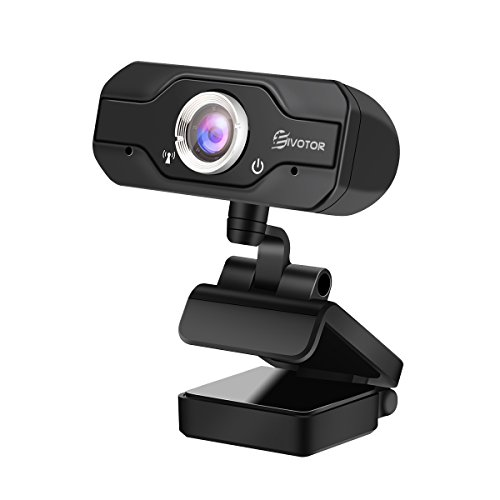 HD Webcam, EIVOTOR PC Webcam 720P USB Mini Computer Camera Built-in Mic, Flexible Rotatable Clip, for Laptops and Desktop, Black