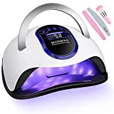 UV LED Nail Lamp, Professional Nail Dryer for Gel Nail Polish with 4 Timer Setting Touch Screen Portable Handle and Automatic Sensor Nail Art Light Tools for Fingernail and Toenail(Blue)