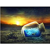 40x50 cm-Diamond Landscape 5D DIY Diamond Painting Cross Stitch Beach Wishing Bottle Home Decoration