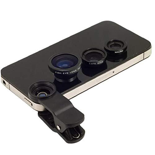 IUwnHceE Clip magnético teléfono con cámara de Lente Universal Lente de la cámara Fisheye Lente Gran Ángulo de cámara para el iPhone, Samsung Galaxy, iPad, tabletas (Negro) Inicio Regalos prácticos