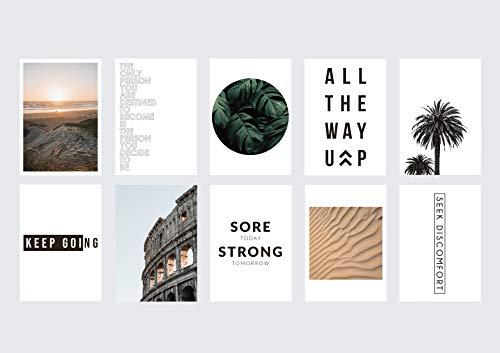hochwertiges Poster Set - 10 Stück DIN A4 | Made in Germany | modernes Design mit Sprüchen und Bildern | ohne Rahmen (Set - Motivation/Sommer)