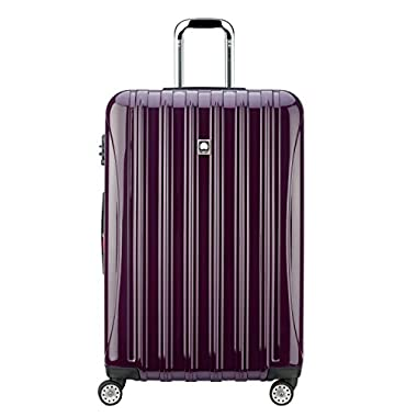 Delsey Luggage Helium Aero, Large Checked Luggage, Hard Case Spinner Suitcase, Plum Purple