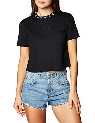 Calvin Klein Jeans Damen Logo Trim Ss Tee Hemd, Ck Black, M