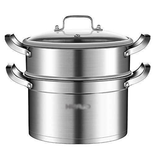 RFF-ZG Lagertopf/Dampfer, 304 Edelstahl, Suppentopf/Hot Pot, 2-Lagen 20-30cm, Haushalt, geeignet für den Induktionskocher/Gasherd (1-10 Personen) (Size : 22cm)