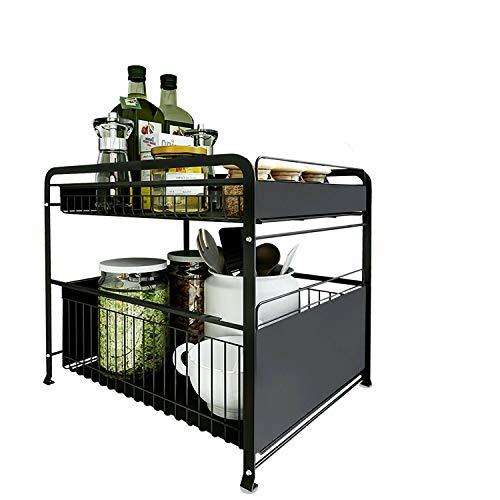 2 Tier Sink Rack Under Cabinet Organizer Expandable Kitchen Shelf Holder Storage